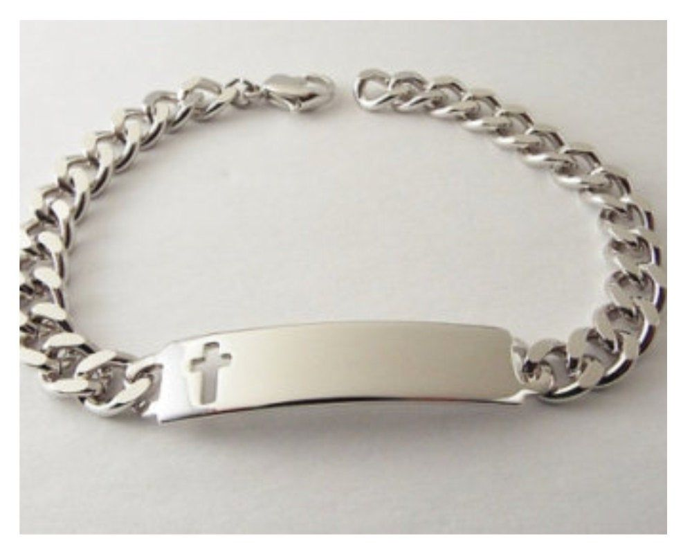 Personalized Mens ID Bracelet Speidel Silver Plated Custom Hand Engraved