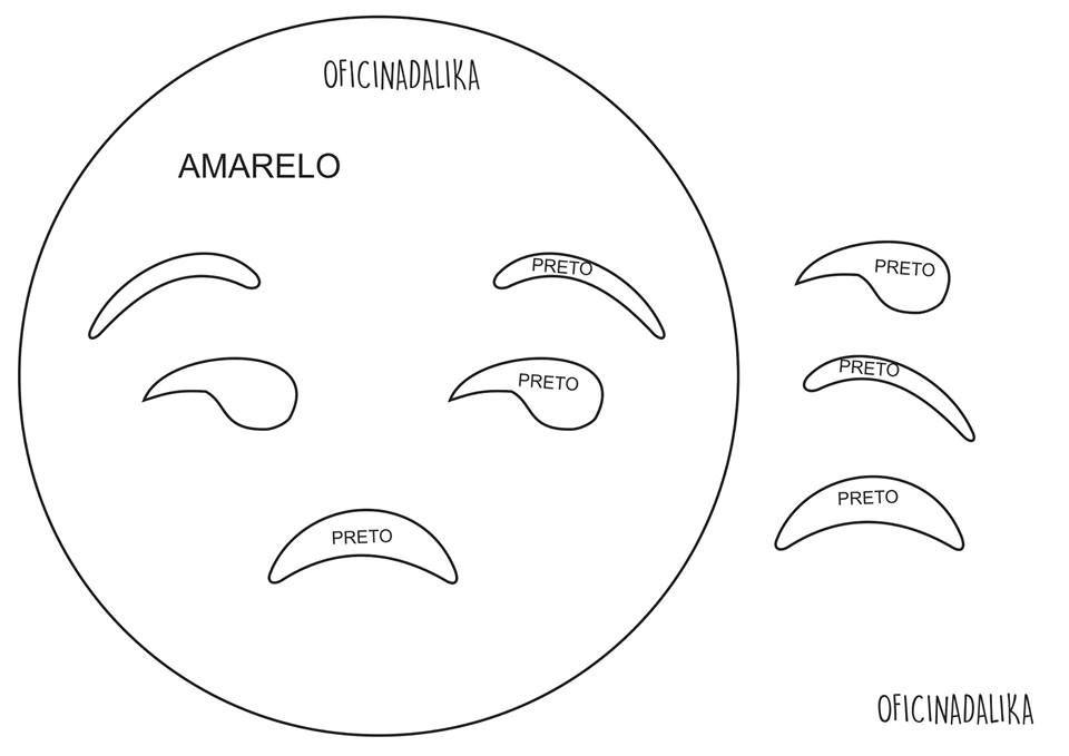 Molde Emotion Olhar torto, pode ser feito em feltro ou e.v.a.