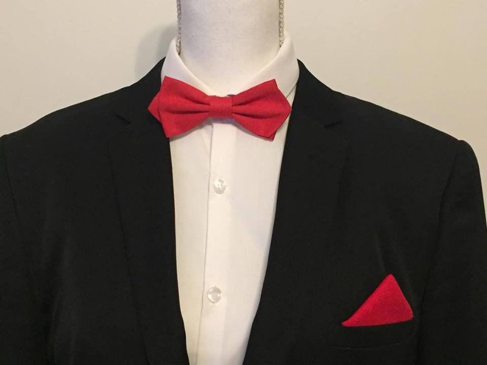 00e786a5e5aae SET Noeud Papillon et Pochette costume Tissus Rouge - homme : Cravates par  fleurs-de-provence