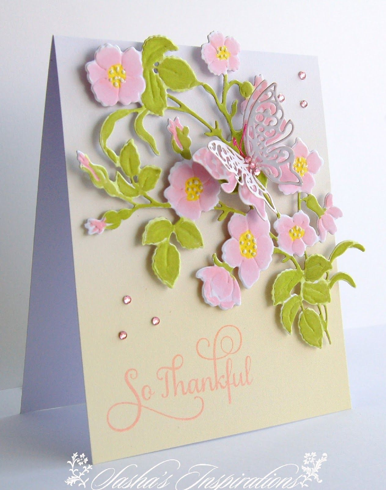 anna griffin 4 piece bow set card | Sasha's Inspirations: Coloured Dry Embossing with Anna Griffin Dies