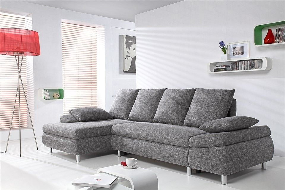 Canape D Angle Gauche Convertible Switsofa Naho Tissu Gris Canapes Convertibles Canapes Fauteuils Muebles My Living Room