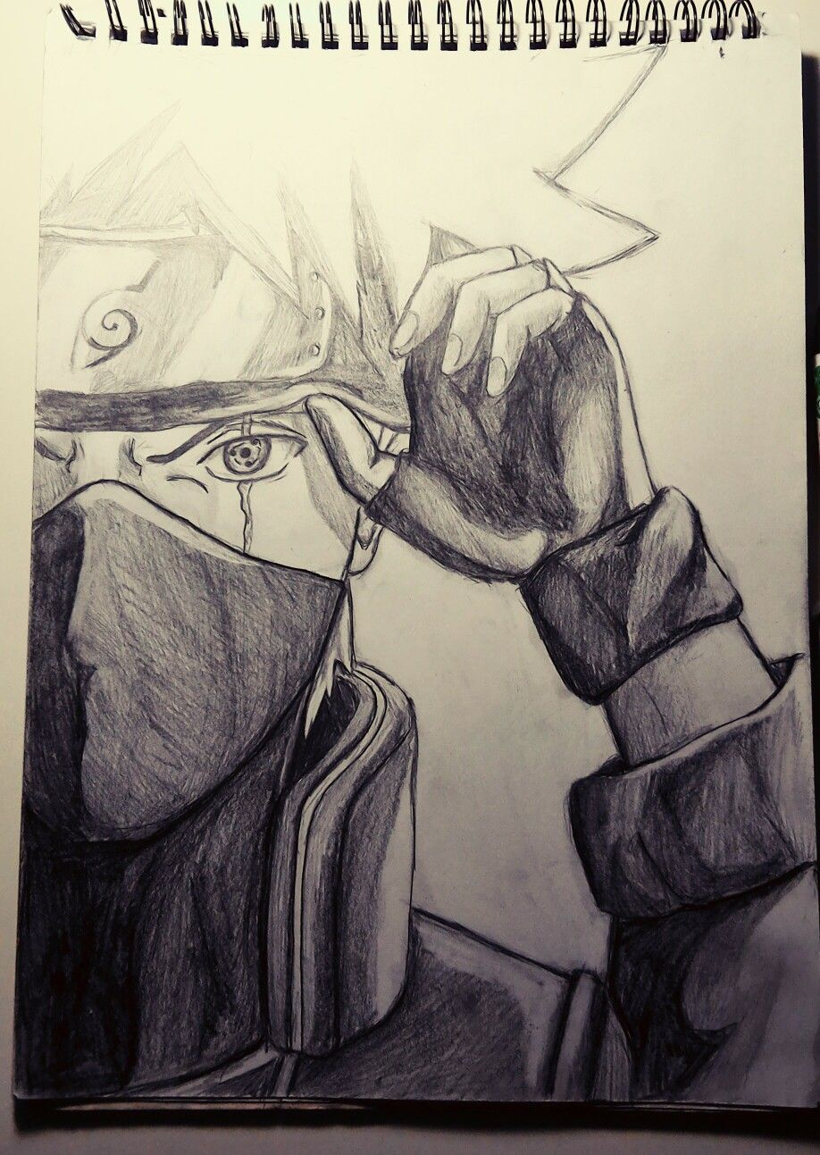 Pencil drawing kakashi sharingan naruto kakashi naruto art naruto