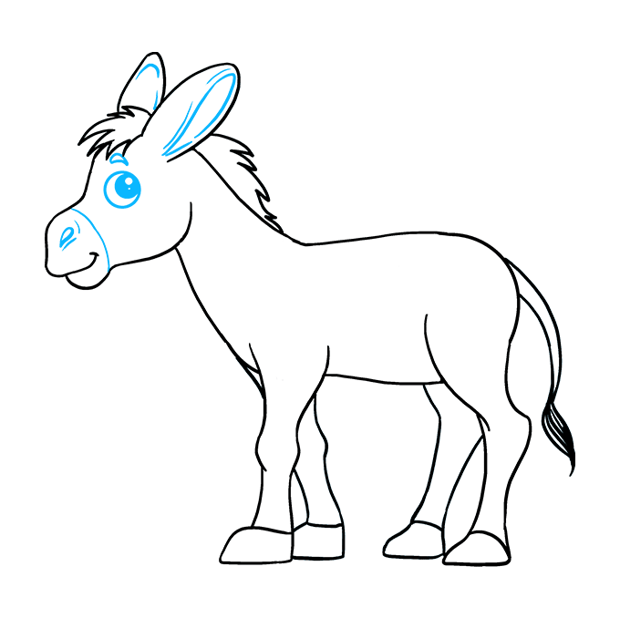 How to Draw a Donkey | Easy drawings, Donkey drawing, Drawings