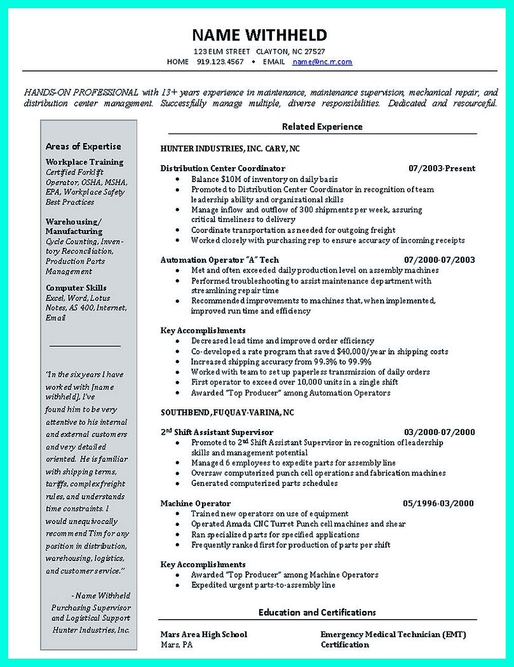 Example Resume For An Inventory Control Manager. Sample Resume For A  Inventory Control Manager, Free Resume Writing Example To Use As A Template.