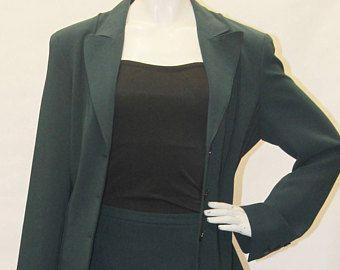 Vintage Jones New York Suit Set Women S Blazer Skirt Set Dark