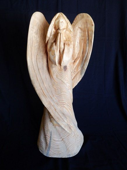 Chainsaw carving praying angel angels pinterest