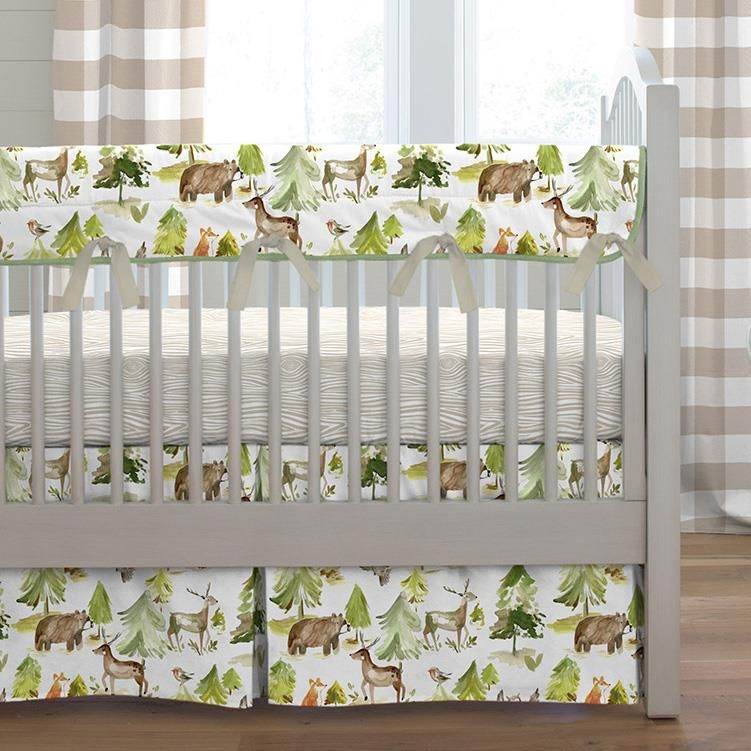 Green And Taupe Forest Crib Bedding Forest Crib Bedding Crib Bedding Boy Woodland Crib Bedding