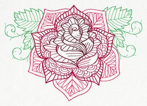delicate rose embroidery design