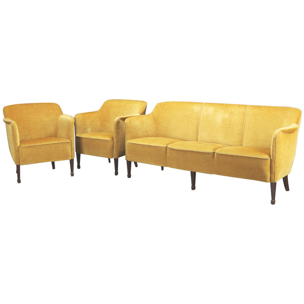 Danish 1940s Mohair Upholstered Three Seat Sofa And Pair Of Tub  # Muebles Camarillo
