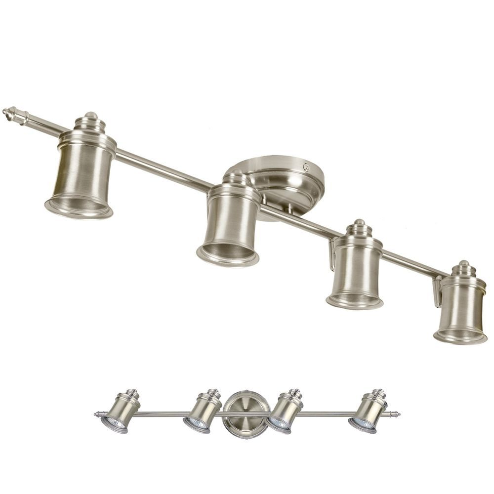 Wonderful Brushed Nickel 4 Bulb Wall Or Ceiling Mount Track Light Fixture