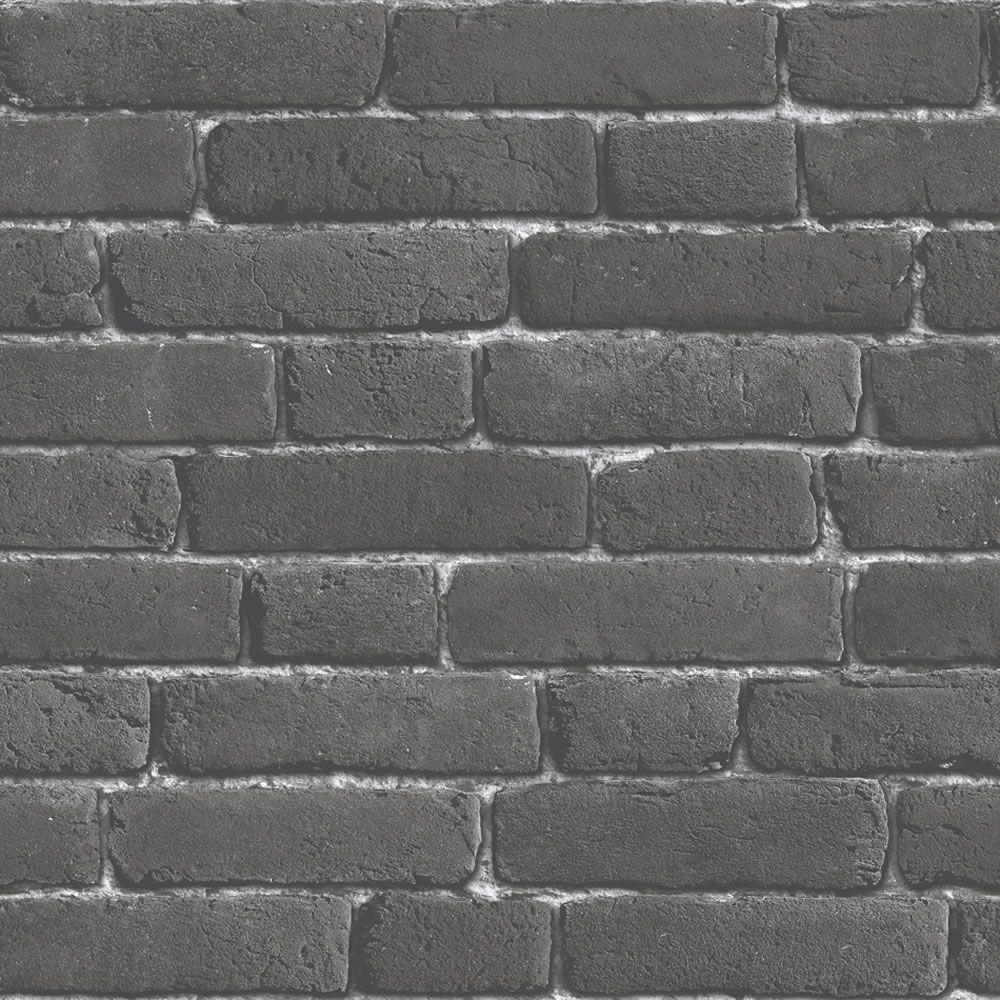 Muriva Brick Charcoal Wallpaper J30109 Charcoal