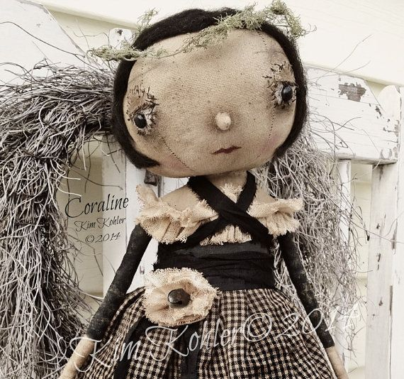 Prim Artist Doll Coraline Primitive OOAK Fabric Cloth Standing Hand ...