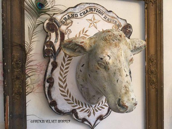 Grand Champion Heifer Head Wall Mount Wood Plaque Cow Farm