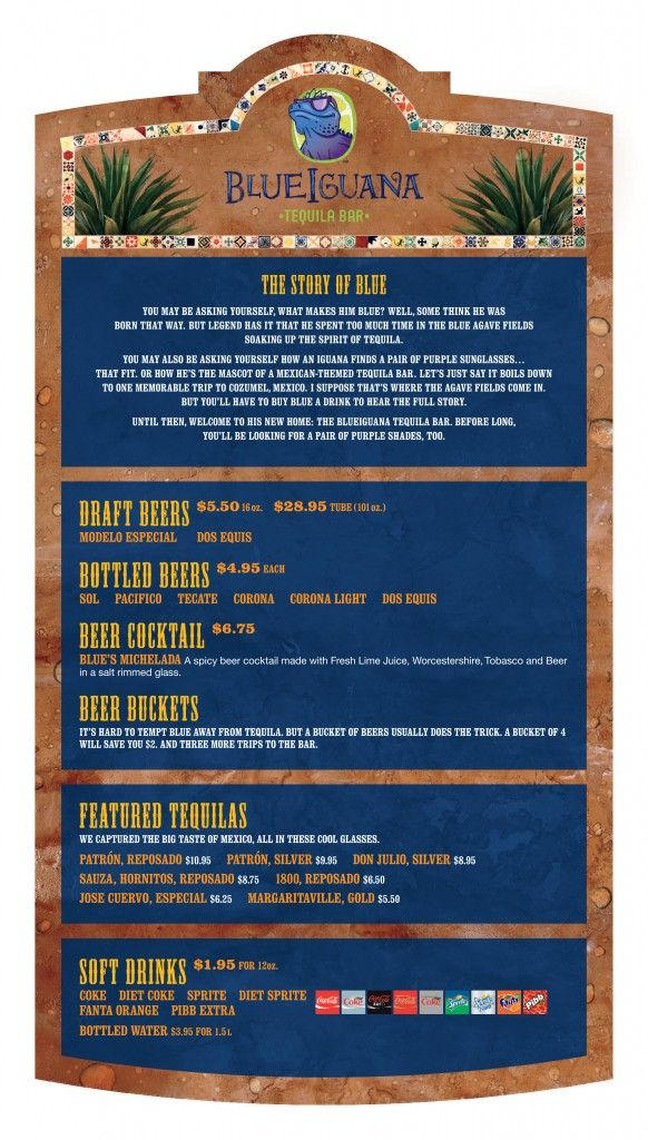 blueiguana tequila bar menu  u2013 carnival fun ship 2 0