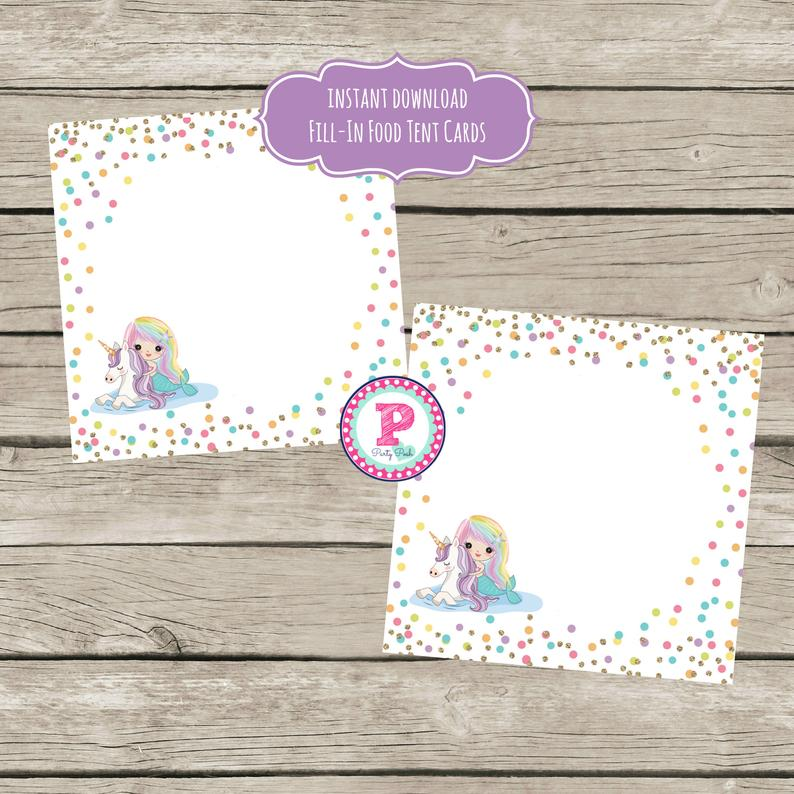 Mermaid Unicorn Party Food Label Cards Food Tent Cards Rainbow Hair Birthday Instant Download Mermaid Bash Pool Party Splish Splash Fill In - Unicorn party food, Party food labels, Unicorn party, Tent cards, Mermaid theme birthday, Food tent - This listing contains a pdf file 1 design with 6 fold over food tent cards per sheet, Easily prints on an 8 5 x 11  sheet of paper   Perfect for your next Mermaid Narwhal party   Approx 3 5 inches by 3 5 inches    Instant Download    Digital File  Any questions please feel free to ask! More printables to match this design in my shop!