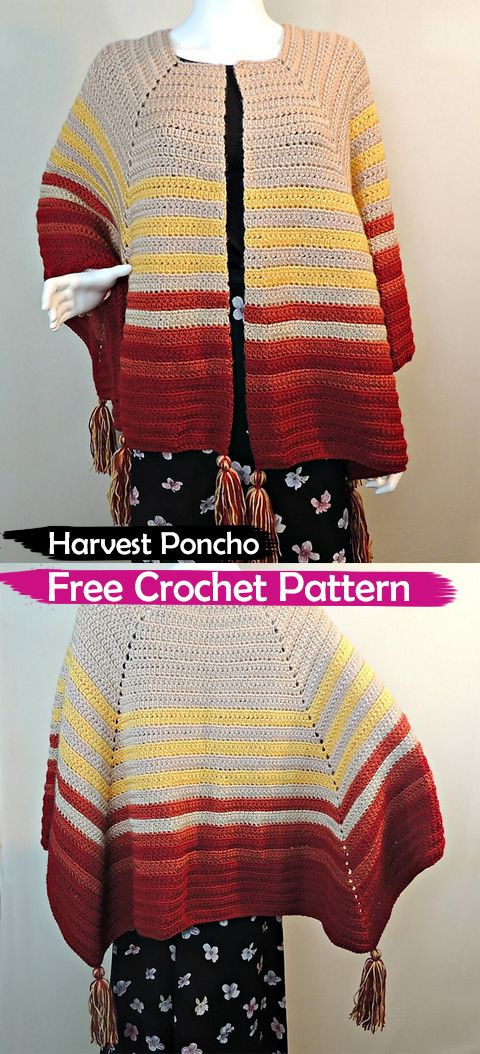 Harvest Poncho Free Crochet Pattern #crochet #crafts #yarn #fashion ...