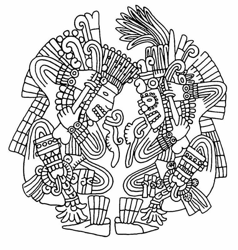 aztec stencil Tatouage aztèque, Motifs aztèques, Coloriage