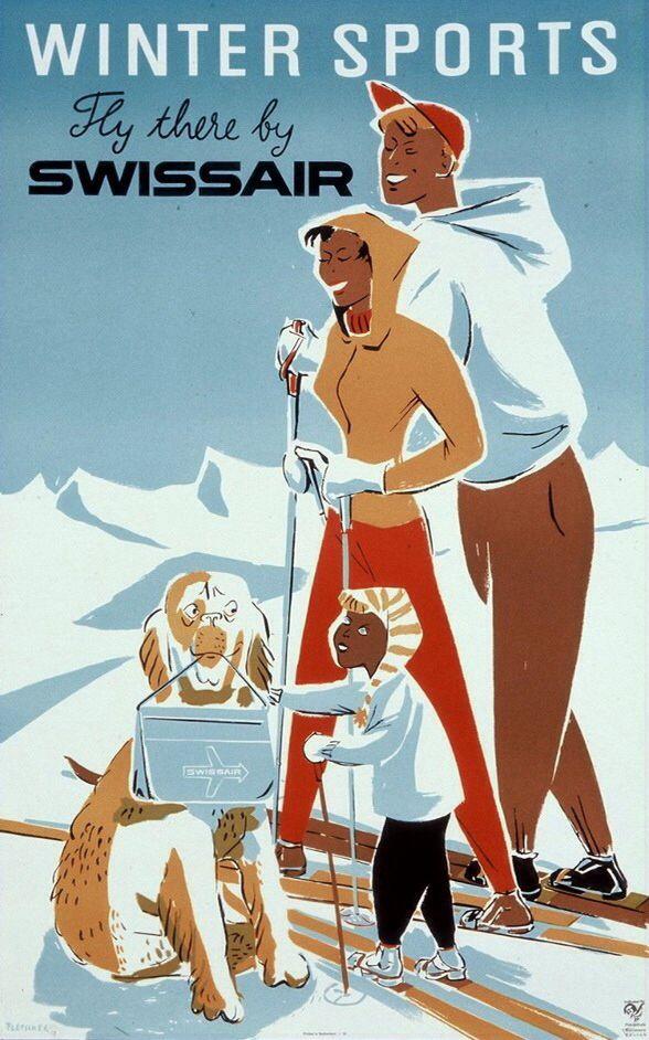Vintage Swissair Winter Ski Travel Poster