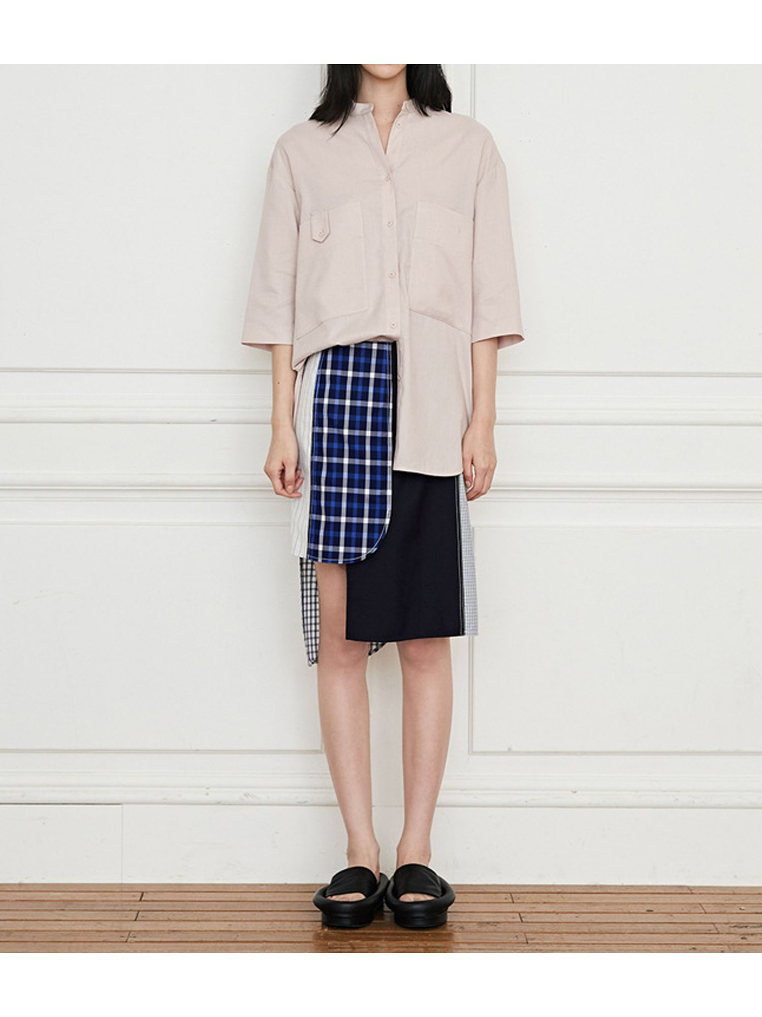 LOW CLASSIC 15RESORT CHECK PATCH SKIRT - NAVY