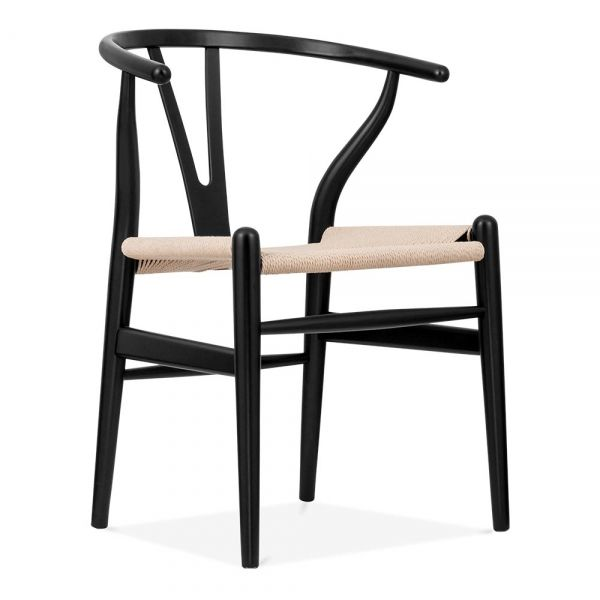 Hans J Wegner Style Wishbone Chair - Black | Cult UK