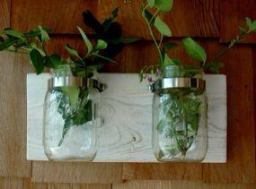 Mason jar wall-mounted herb garden
