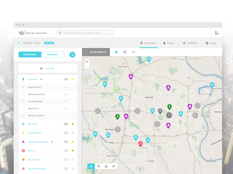 Startup Genome Map Web App Design Map Web Layout Design