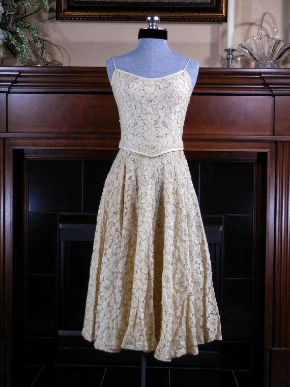 Vintage 1950s ivory wedding dress 2 piece by VintageRoseTattoo