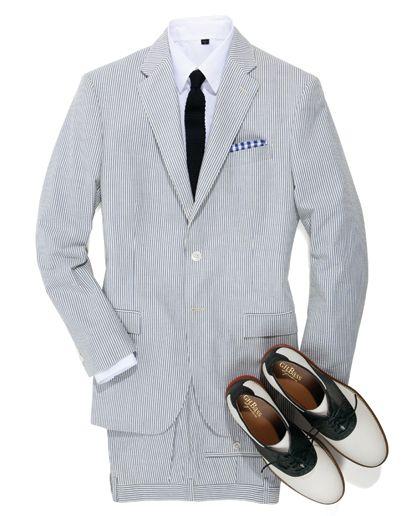 Navy Striped Men/'s Summer Suits Seersucker Prom Wedding Tuxedos 2 Pieces Custom
