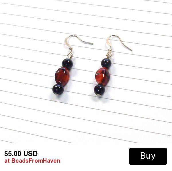 Handmade Beaded Dangle Earrings in Red and Black