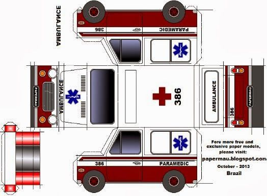 PAPERMAU Easy To Build Ambulance Paper Model