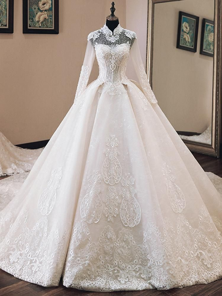 onlybridals Vestido de Casamento Beading Appliques Luxury Ball Gown Wedding Dresses Long Sleeve 2020 High Neck Trouwjurk Bride Dress