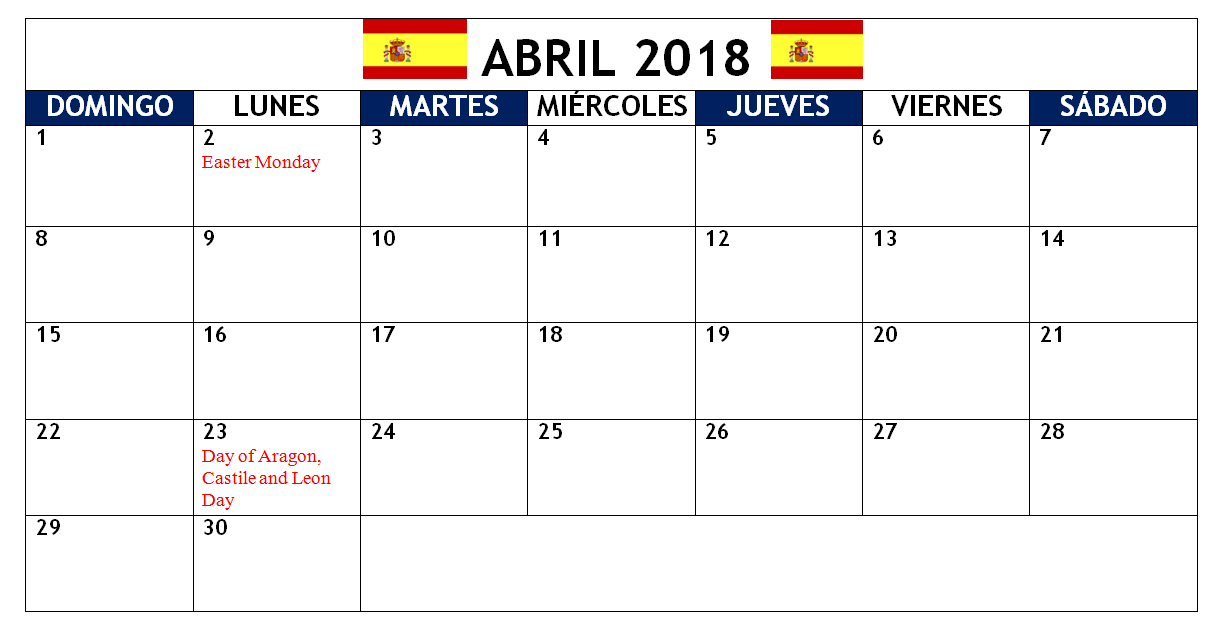 holidays calendar for spain 2018 april holiday calendar spain spanish