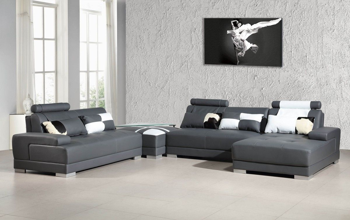 Modern Grey Sectional Sofa Gallery Image 6 Gallery Image 138 Grey Sectional Sofa Ottoman In Living Room Leather Couch Sectional