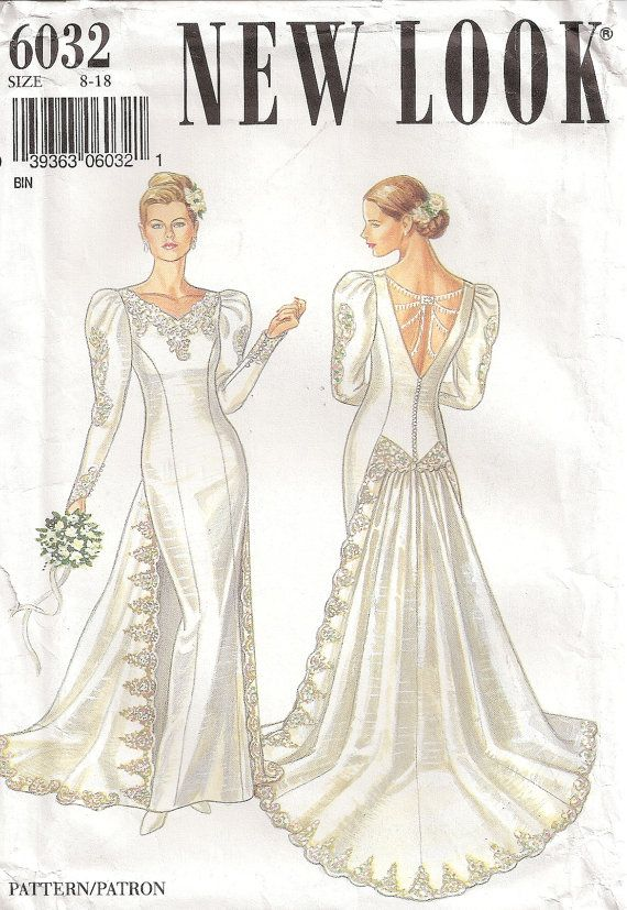 Once Again Styles Come Around New Look 6032 Bride S Dress Sewing Pattern Vintage Wedding Dress Pattern Vintage Clothes Patterns Vintage Dress Patterns