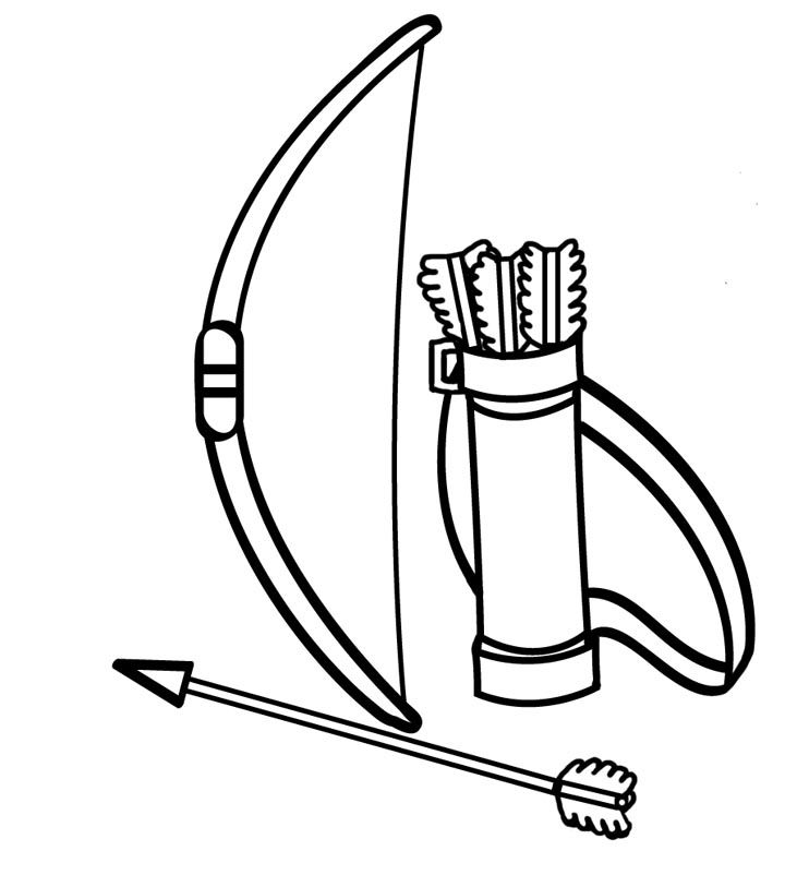 Bow And Arrow Coloring Page Drawing Clipart Black White Design Archery Bows