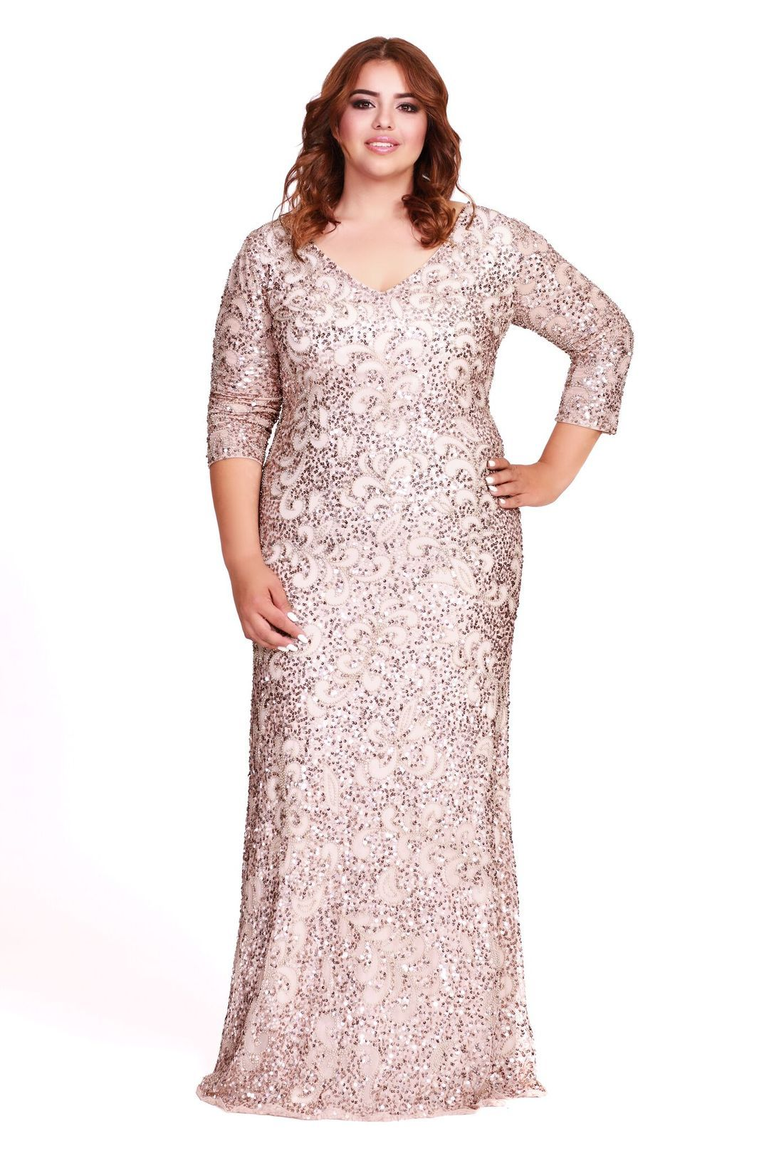 Long Sleeve Embellished Bridesmaid Mother Of The Bride Plus Size Dress Rose G Gold Plus Size Dresses Bridesmaid Dresses Plus Size Mother Of The Bride Plus Size