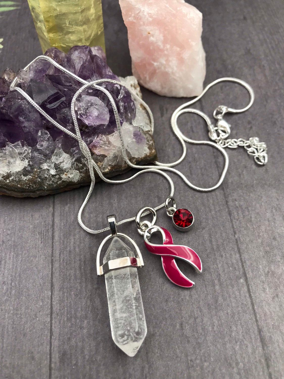 Healing crystal quartz necklace burgundy ribbon charm