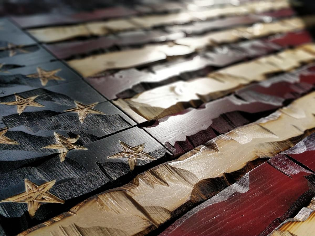 Statement size Rustic Wood Burned Painted American Flag 84*46