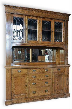 1920s Medium Oak Built In With Leaded Glass Cabinet Doors