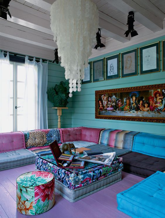 Purple And Turquoise Bedroom Ideas Part - 43: Large Boho Chic Living Room With Turquoise Walls And Colorful Upholstery