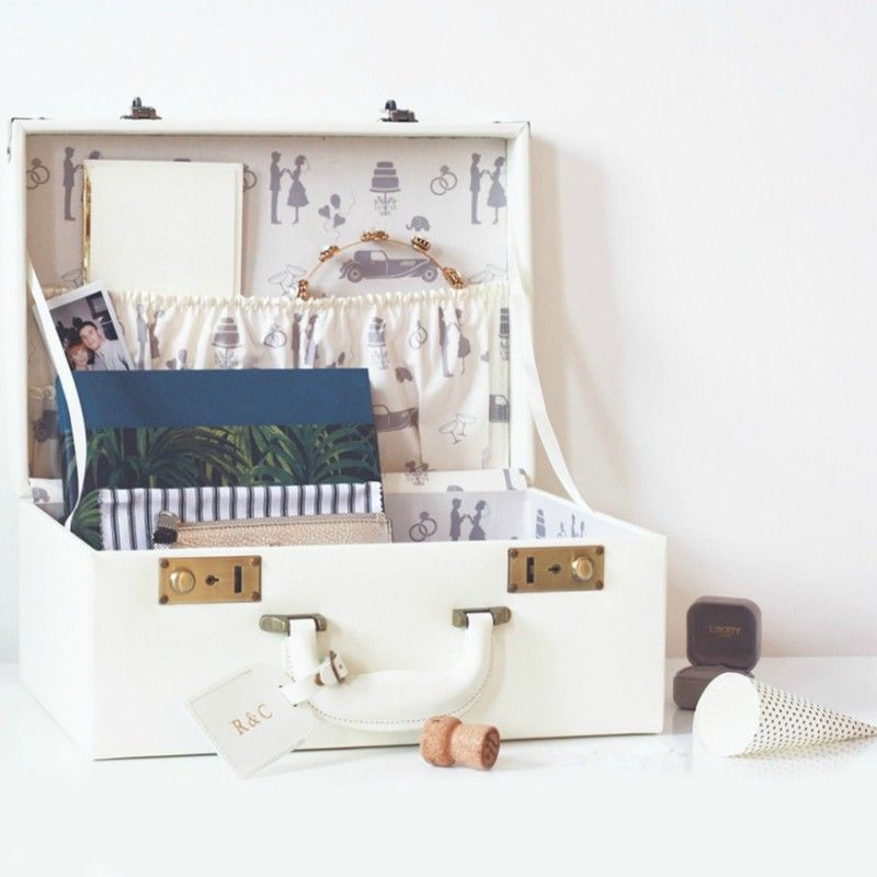 Cork Wedding Memory: Wedding & Honeymoon Suitcase Keepsake Box