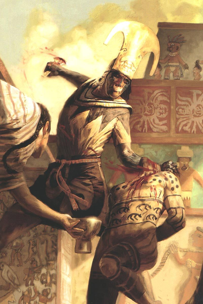 (Government) The artwork depicts a sacrifice a Maya priest ...