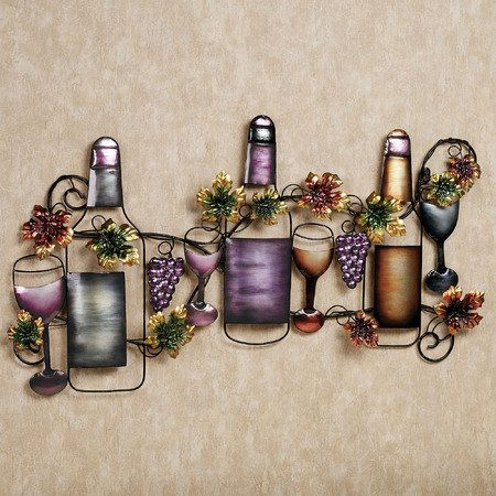 Wine Tasting Metal Wall Sculpture Wine Decor Kitchen Grape Decor
