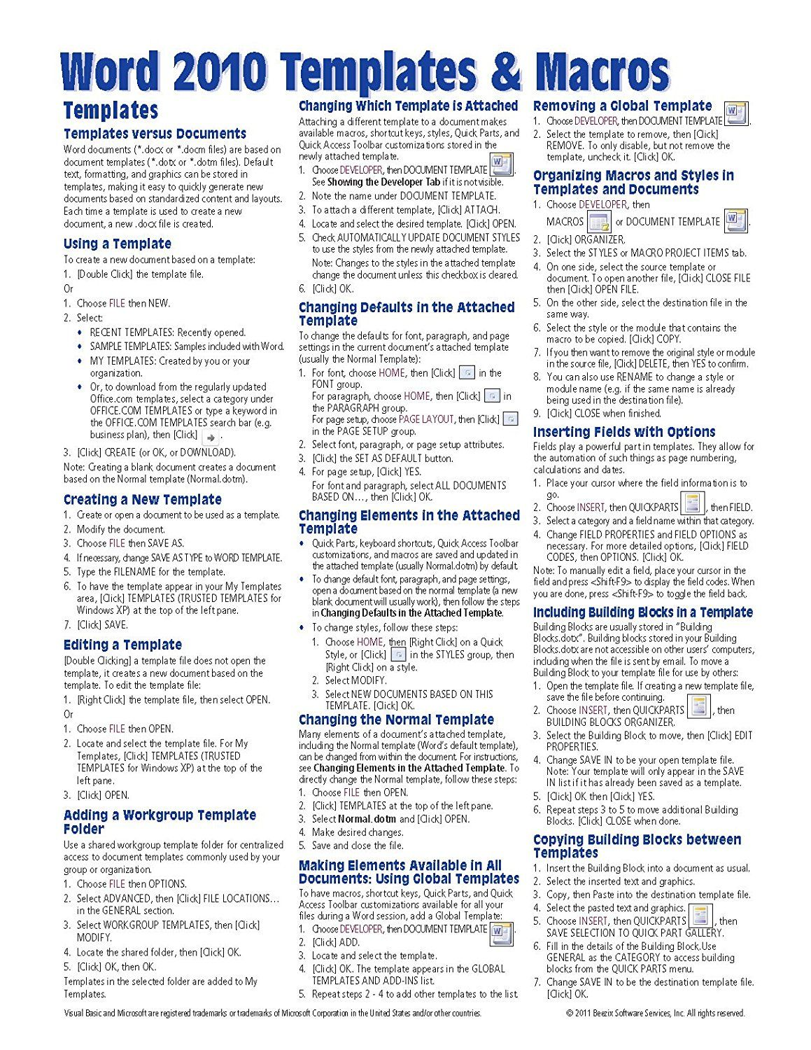 Microsoft Word Templates Amp Macros Quick Reference Guide Cheat Sheet Of Instructions Tips