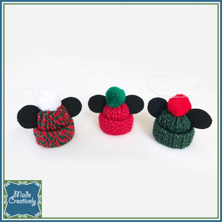 Mini Winter Hat with Mouse Ears Christmas Ornament Set of 3