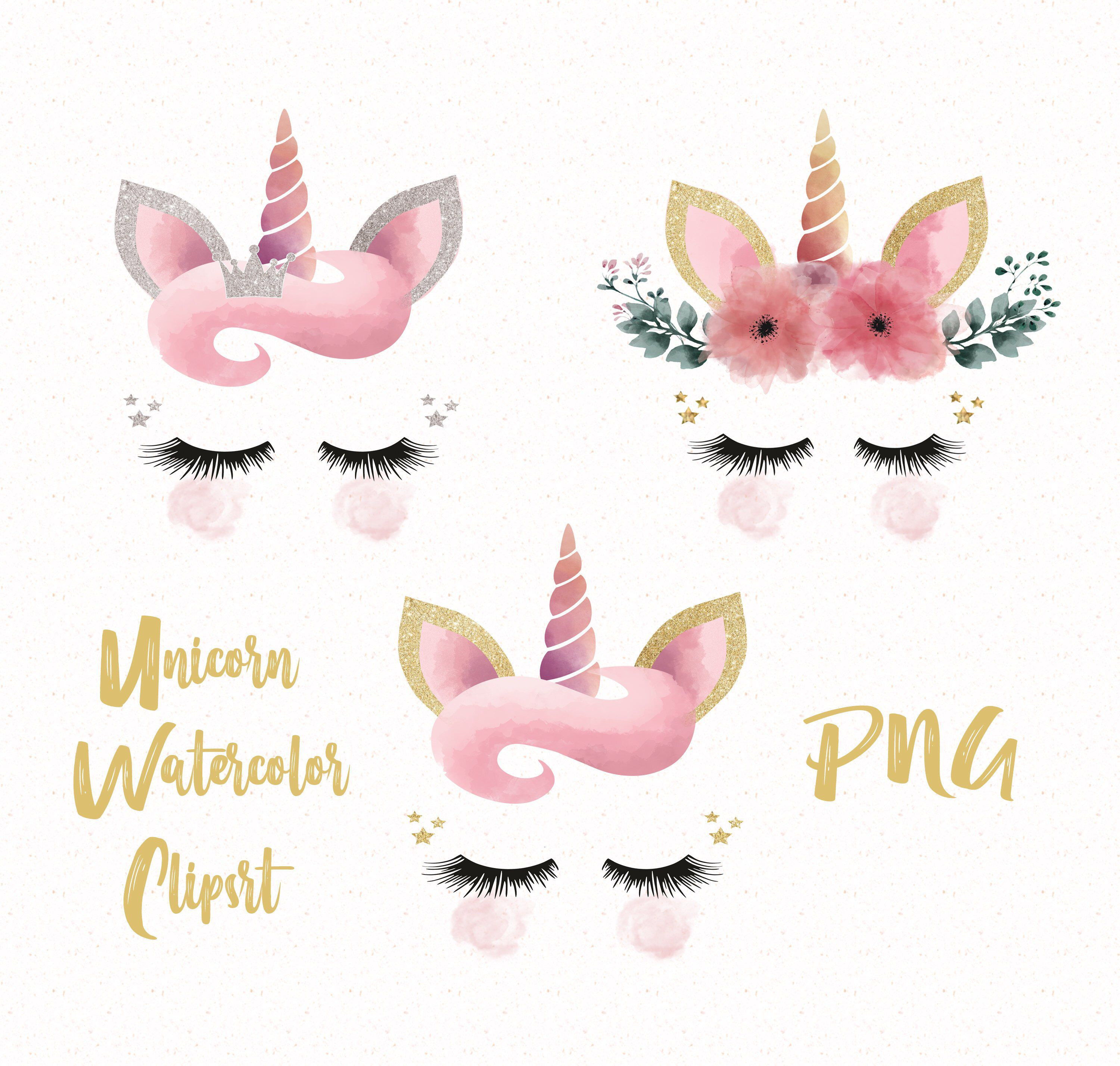 Unicorn Face Clipart Glitter And Watercolor Unicorn Floral Horn Clipart Unicorn Heads Png Unicorn Clipart Digital Files Png By Ahlamdesigner On Skrapbuking