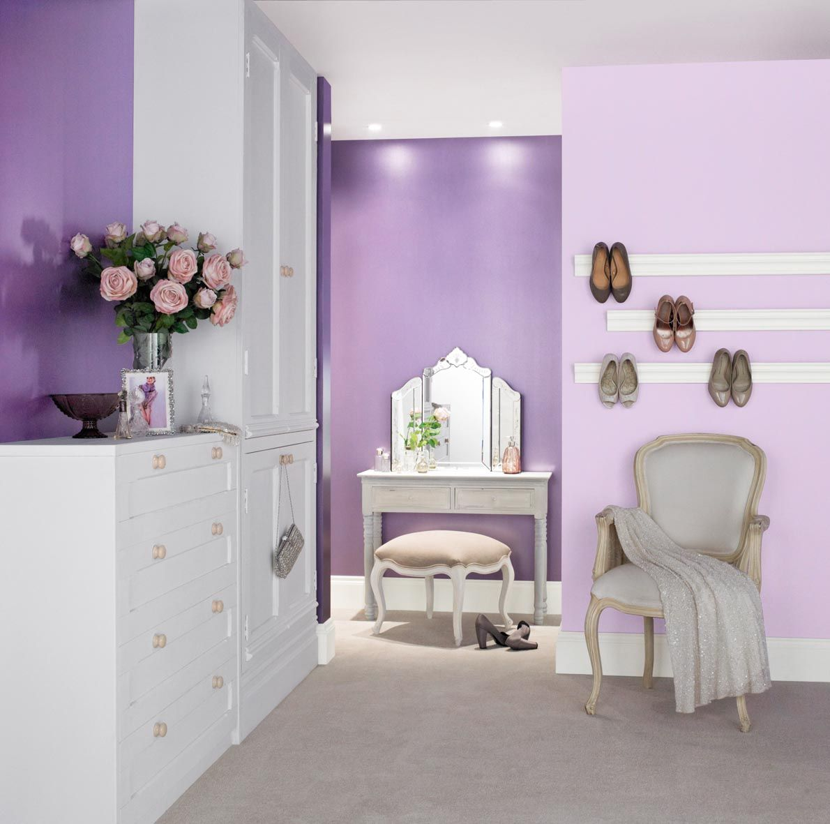 Glamorous Bedroom Painted With Crown Matt Emulsion In Lavender Cupcake And Metallic Purple Dazzle