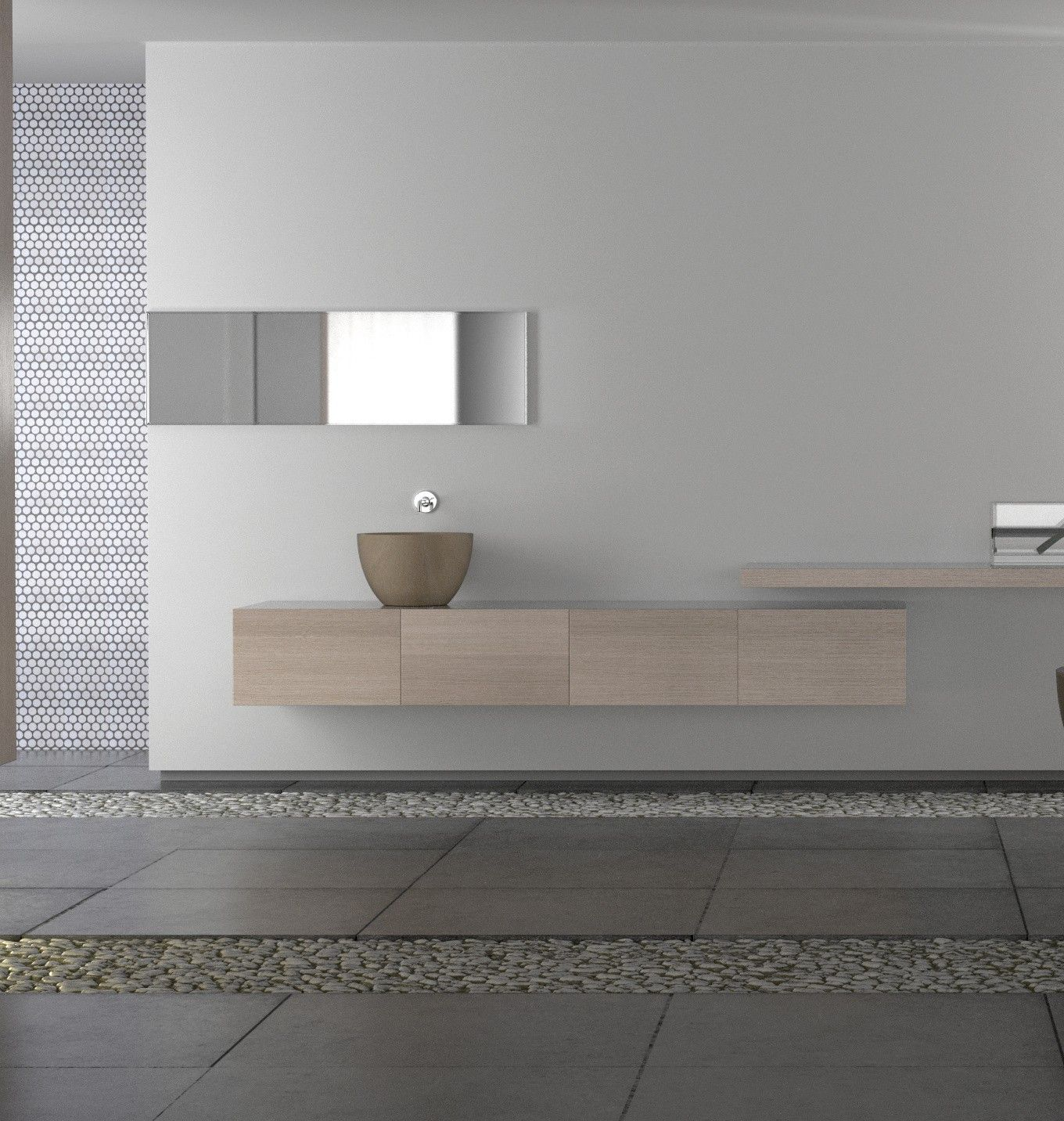 A modern minimal bathroom. The designers are not identified on the site.