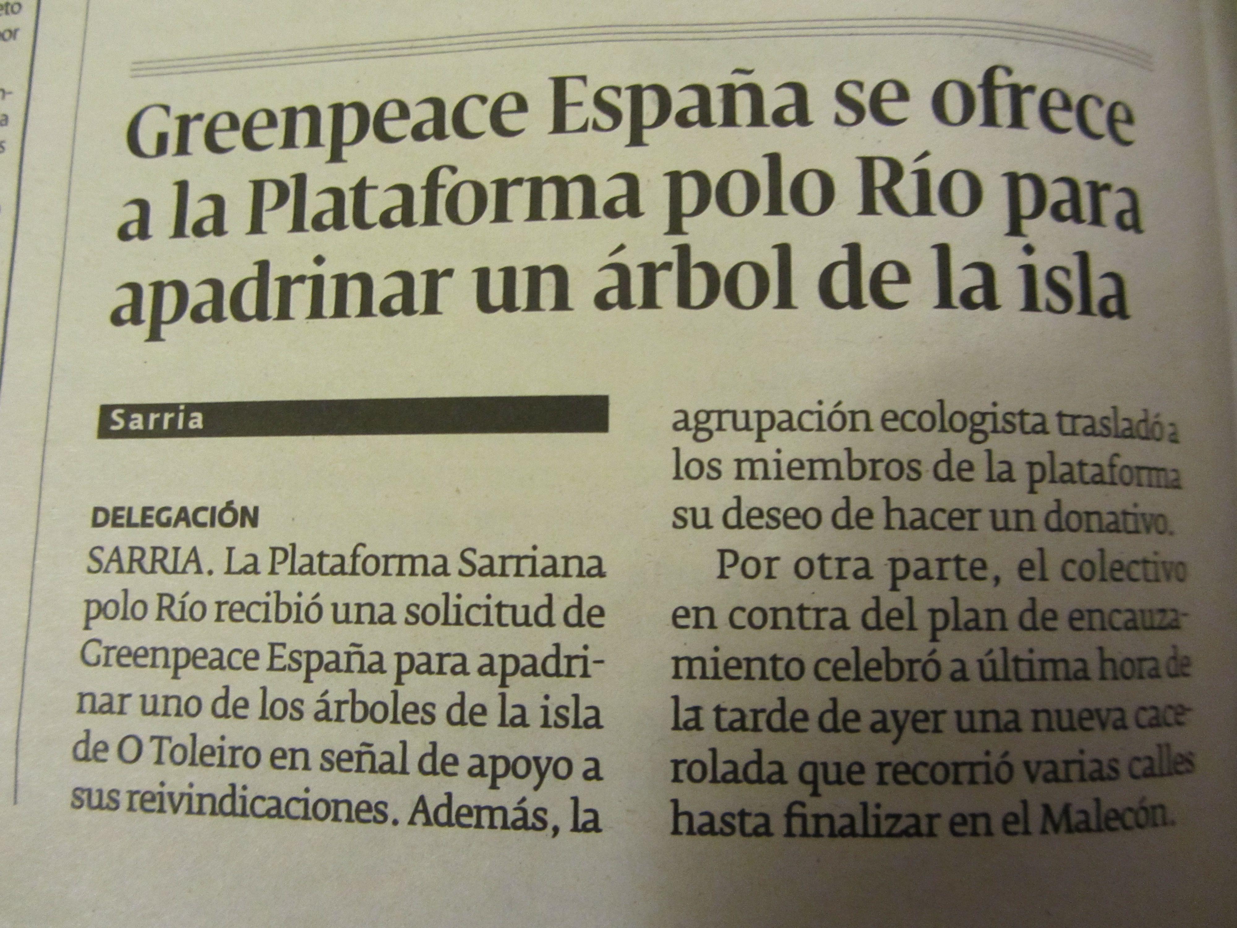 El Progreso.- Sábado 15 de marzo. Greenpeace España...