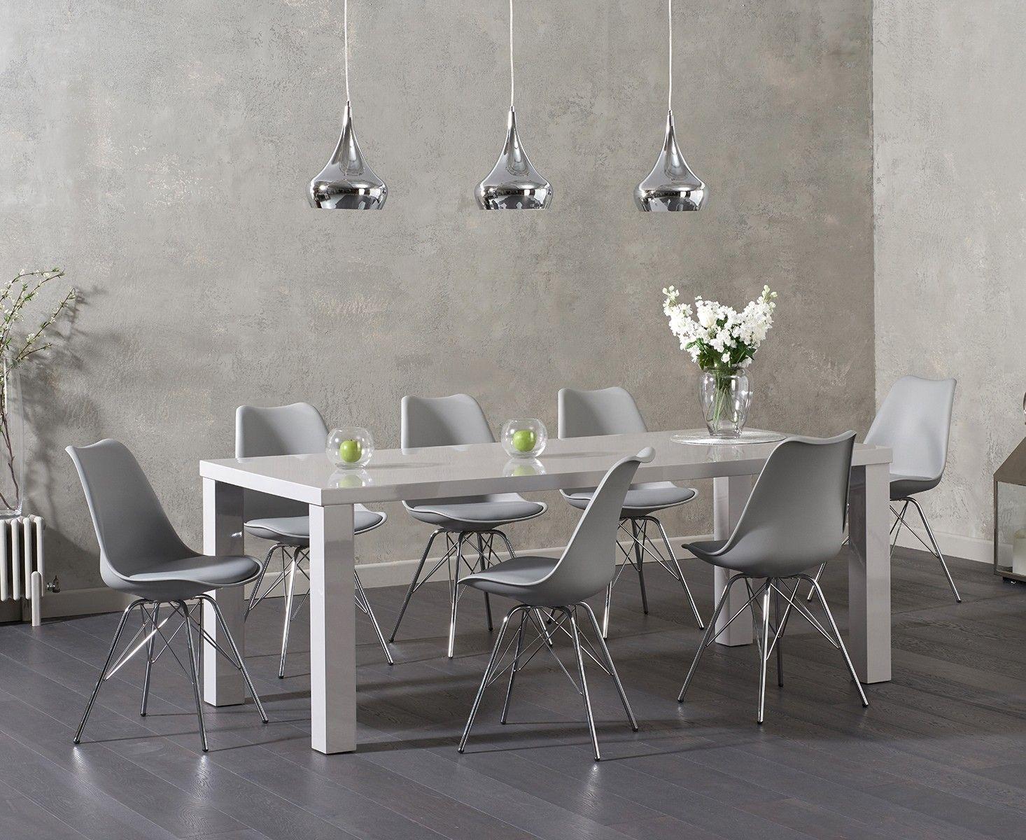 Atlanta 200cm Light Grey High Gloss Dining Table With Celine Faux Leather Chrome Leg Chairs